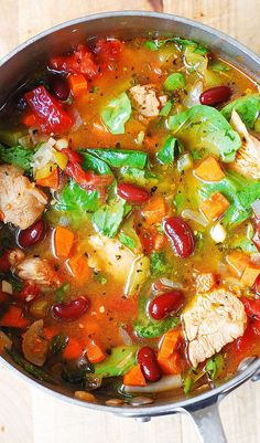 Chicken, Bean & Spinach Soup   Community Post: 23 Gluten-Free Soups To Make For National Soup Month