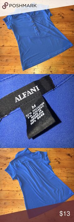 """NWOT Alfani Dress Shirt ✔️NWOT Alfani Dress Shirt ✔️Soft, comfortable stretch fabric  ✔️The bottom button came to me from the store with a """"unique"""" bump on it, shown in pictures  ✔️Chest 37"""" ✔️Waist 30"""" ✔️Length shoulder to hem 23"""" ✔️Length underarm to hem 15"""" Alfani Tops Blouses"""