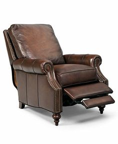 "Madigan Leather Recliner Chair, 32.75""W x 38.5\""D x 39\""H"