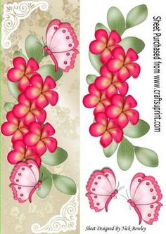 Cascading cerise flowers with rainbow butterflies tall DL on Craftsuprint - Add To Basket!