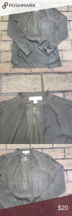 Long sleeve sheer army green blouse Long sleeved top army green in color gold zipper. Loose fit MICHAEL Michael Kors Tops Blouses