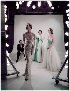 Norman poses with three models, photo by Norman Parkinson 1953  by dovima_is_devine_II, via Flickr