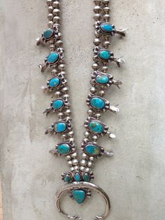 Stunning Navajo Turquoise & Sterling Silver Squash Blossom Necklace
