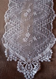 NEW White lace embroidered table runner. 72 inches long x 12 inches wide. Lace Runner, Lace Table Runners, Burlap Fabric, Burlap Lace, Crochet Stitches Patterns, Stitch Patterns, Bouquet Wrap, Hardanger Embroidery, Lacemaking