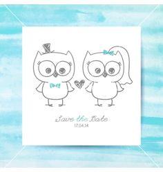 Wedding owls vector bride and groom save the date- by redcollegiya on VectorStock®
