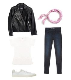 Pictured Above: Madewell Shrunken Leather Motorcycle Jacket ($498); J.Crew Italian Silk Square Scarf in Soft Peony Paisley Print ($35); Mott & Bow High Rise Skinny Jeans ($108); Re/Done   Hanes...