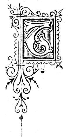 Free High Resolution Printable Vintage Initial Capital Letter 'T' Letter T, Initial Letters, Initial Capital, Printable Vintage, Monograms, Typography, Calligraphy, Magazine, Image