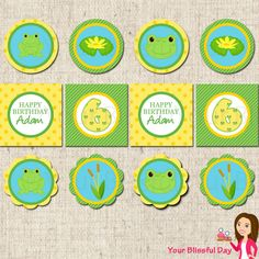 PRINTABLE Boy Frog Party Circles (Personalized). $8.00, via Etsy.