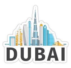 'Dubai United Arab Emirates - Burj Khalifa Skyscraper City Skyline' Sticker by ZamerskiDesigns Tumblr Stickers, Cool Stickers, Printable Stickers, Laptop Stickers, Snapchat Stickers, Travel Wall, Instagram Highlight Icons, Story Highlights, Aesthetic Stickers