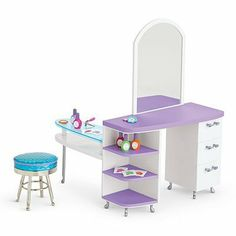 American Girl MYAG Salon Station for Dolls by American Girl. $104.95. This set features everything she needs for make-believe spa treatments and salon styles: A spa table with space for manicures and hairstyles, a mirror so she can check out her 'do, plus plenty of drawers and shelves A chrome salon stool for her doll to perch on while she primps Plenty of pretend salon supplies: five nail polish bottles, three flower-shaped nail files, and a nail clipper Includes five she...