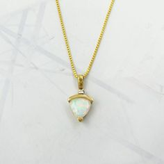 "TRILLION CUT OPAL DIAMOND ACCENT 14K YELLOW GOLD PENDANT & BOX CHAIN 16"" GEOMETRIC JEWELRY IS THE BEST!"
