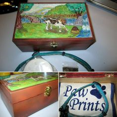 """""""Lilly Tribute Box"""" In memory of Lilly my Beagle who crossed the rainbow bridge earlier in the year- Box was sprayed with Createx Wicked Colors Airbrush Acrylic and picture painted with craft acrylic and ink … will be finished off with Polycrylic Urethane Painted Boxes, Hand Painted, Rainbow Bridge, Birdhouses, Wood Boxes, Airbrush, Beagle, Wicked, Ink"""