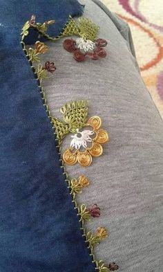 İğne oyası çember oyası Yemeni çember kenarı Needle Lace, Needle And Thread, Crochet Trim, Knit Crochet, Pop Corn, Point Lace, Tatting Patterns, Lace Making, Knitted Shawls