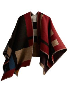 Contrast Color Cashmere Poncho | Choies