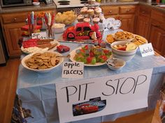 lightning mcqueen party food - Google Search                                                                                                                                                      More Lightning Mcqueen Party, Lightening Mcqueen, Cars Party Foods, Party Food Themes, Relâmpago Mcqueen, Hot Wheels Birthday, Hot Wheels Party, 4th Birthday Parties, Car Themed Parties