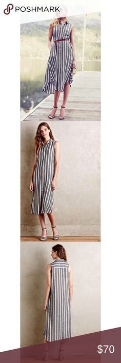 """{Anthropologie} Holding Horses Shirt Dress Grey/white vertical stripe button up sleeveless midi dress, with two pockets made by Holding Horses for Anthropologie Size 10 68% Cotton 32% Rayon Pit to Pit 20"""" Length 47"""" *Measurements taken flat* Gently worn Anthropologie Dresses Midi"""