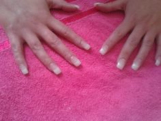 Natural tips with whiite ez flow acrylic with nsi pink blush acrylic and clear nsi acrylic , with a glaze and go finsh. .