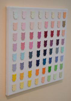owl paint chip art...but in butterflies for Tatum's room. Love it!!