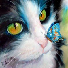 A butterfly on a kitten's nose oil painting,black and white cat oil painting,cat art,original oil painting,hand painted by Ape Art Studio Cross Paintings, Animal Paintings, Animal Drawings, Drawing Animals, Photo Chat, Art Et Illustration, Cat Illustrations, Cat Drawing, Drawing Board