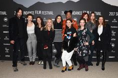 """Actor Keanu Reeves, actress Maya Eshet, actress Kathryn Prescott, director Marty Noxon, actress Lily Collins, actress Ciara Bravo, actress Lindsey McDowell, actress Rebekah Kennedy, actress Carrie Preston, actress Liana Liberato, and actress Lili Taylor attend the """"To The Bone"""" Premiere on day 4 of the 2017 Sundance Film Festival at Eccles Center Theatre on January 22, 2017 in Park City, Utah."""