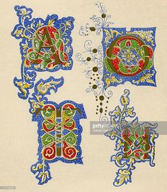 Illuminated letters A, O, T and M. Fifteenth century. (1886 source).