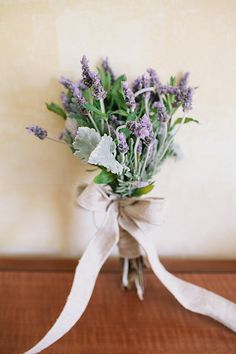 Lavender, mint, and burlap bridesmaid bouquets for a Rustic outdoor wedding at Paramount Ranch.