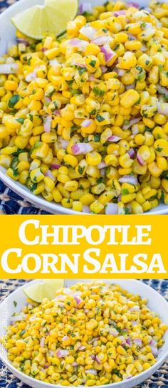 Chipotle Corn Salsa Copycat with lime, jalapeno and red onion is so easy! Chipotle Corn Salsa Copycat with lime, jalapeno and red onion is so easy! Chipotle Recipes, Mexican Food Recipes, New Recipes, Vegetarian Recipes, Cooking Recipes, Favorite Recipes, Healthy Recipes, Chipotle Corn Salsa Recipe Copycat, Chipotle Bowl