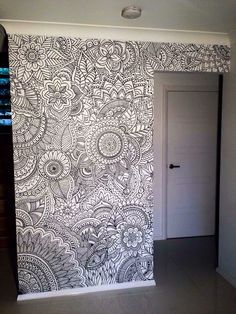 Coloring book wall? Or just leave black and white?
