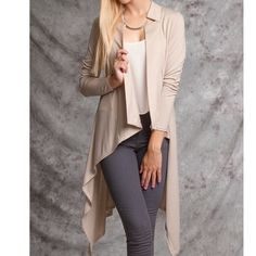 """💥HP🎉 BLACK OR NUDE💥SPECIAL MARK DOWN💥Cardigan LONG SLEEVE HIGH-LOW CARDIGAN WITH COLLAR. Colors Black and Taupe. Lightweight.60% COTTON 40% RAYON KNIT CARDIGAN *MODEL IS 5`9"""" ---Fabric Does Have Some Stretch--- Black available in small, medium & large. Sweaters Cardigans"""