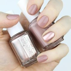#ManiMonday nail swatch - Essie Nail Lacquer in Lady Like with Penny Talk accent nail.
