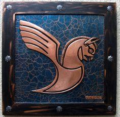 WINGED GRIFFIN - Quadro em repujado sobre cobre. 45X45cm.