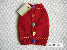 Dog Sweater Hand Knit Pet Sweater Button Up Back Size
