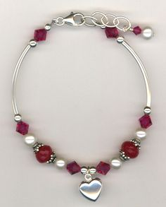 Revel In The Love ~ Pink Swarovski Fuchsia Crystal Freshwater White Pearl Puffed Heart Sterling Silver Charm Handbeaded Adjustable Bracelet