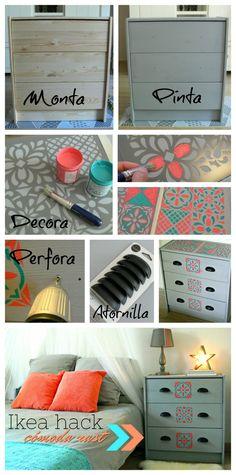 Transformación de una cómoda de madera de Ikea www.manualidadesytendencias.com #stencil #Ikea #hack #Rast #cómoda #customizar #muebles #diy #chalkpaint #pintar #baldosas #hidráulicas #plantilla #manualidades