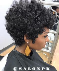 Short Curly Hairstyle for Thick Natural Hair - Crochet Hair Styles Short Natural Curls, Tapered Natural Hair, Short Curly Hair, Short Hair Cuts, Curly Hair Styles, Natural Hair Styles, Short Natural Curly Hairstyles, Curly Mohawk, Short Afro