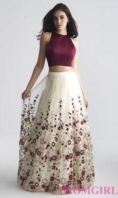 Two-Piece A-Line Prom Dress with Embroidery #longpromdresses