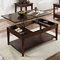 How handy is this coffee table with a lift top? It hides extra storage but keeps it easy-access. Crestline Lift Top Cocktail Table | Weekends Only Furniture and Mattress