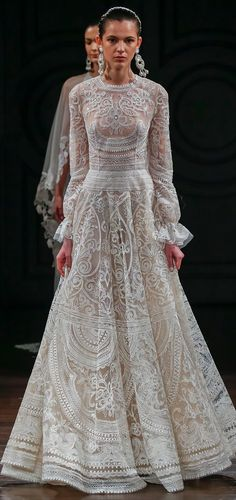 Thread embroidered gown with gathered long sleeves and open back. Spring  2017 Wedding Dresses e1ee176aa749