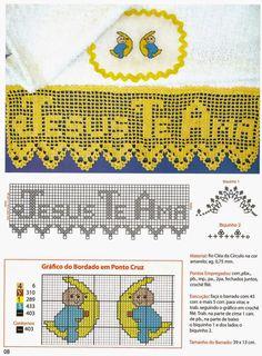 Barrado de crochê: Jesus Te Ama