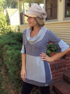 Eco  baby doll Shirt, tunic, cowl neck,  Upcycled Clothing, boho, hippie, urban gray  mix size S/Mby Zasra