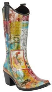 Muck about in high fashion with these Beehive® Rain Bops™ Ladies Multi Colored Giddy-Up Cowgirl Rain Boots