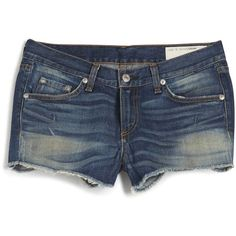 Rag & Bone Fray Cut-Off Short ($180) ❤ liked on Polyvore featuring shorts, bottoms, pants, jeans, cut off shorts, torn shorts, rag bone shorts, mid rise shorts and destroyed shorts