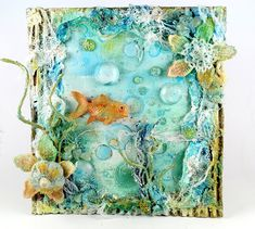 Mixed Media Place: Under the Sea Seashell Art, Seashell Crafts, Beach Crafts, Altered Canvas, Altered Art, Mixed Media Collage, Mixed Media Canvas, Mix Media, Arts And Crafts
