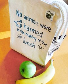 No Animals Harmed Vegan Lunch Bag / Recycled Cotton by VeganPolice