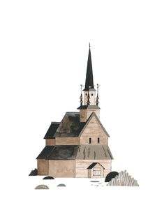 Nordic Stave Church Art Print by Pádhraic Mulholland. Illustration Styles, Simple Illustration, Photography Themes, Watercolor Images, Mother Mary, Drawing Reference, Cool Artwork, Gouache, Drawing Ideas