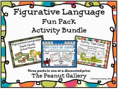 This figurative language fun pack (activity bundle) includes three sets at a discounted rate! Figurative language task cards (great for centers or small group/partner work), creating a medieval coat of arms using figurative language, and writing quatrains with figurative language are included. ($)