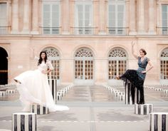 Melissa, owner of The Bar Method Birmingham-Vestavia does leg lifts with her beautiful bride sister Caroline at Le Palais Royal in Paris. They somehow managed to make it look easy while wearing heels and standing on pillars! #WhereDoYouBar?