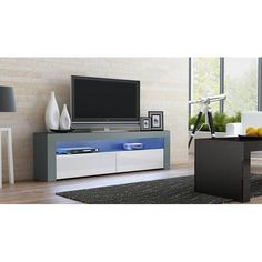 Milano Classic Modern 16 color 63-inch TV Stand | Overstock.com Shopping - The Best Deals on Entertainment Centers - Gray/Wavy Black Modern Tv Room, Modern Living, Black Tv Stand, Outdoor Kitchen Cabinets, Tv Stand With Storage, Cool Tv Stands, Living Room Storage, Living Rooms, Entertainment Room