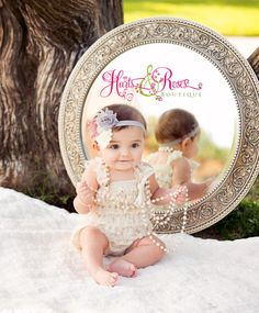 Baby girl outfit2 PC Ivory Lace Romper SETBaby by HartsandRoses, $28.90