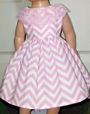 """Doll Clothes-Handmade-American Girl Dolls-Fits 18""""-Pink Chevron and Lace Dress."""